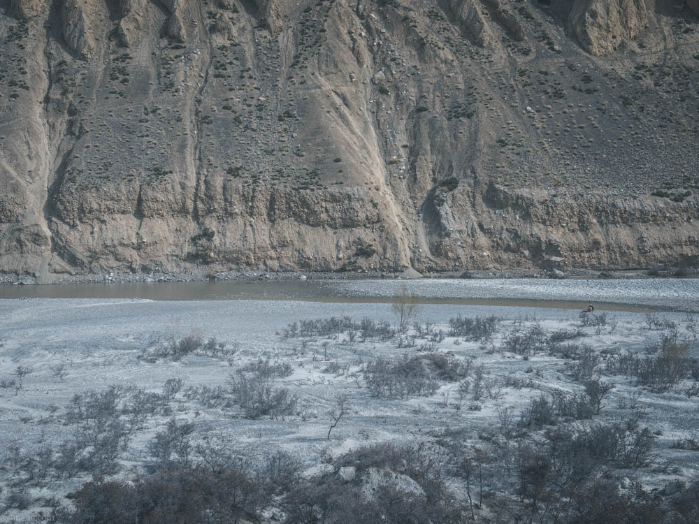 River bank next to Pamir mountain.